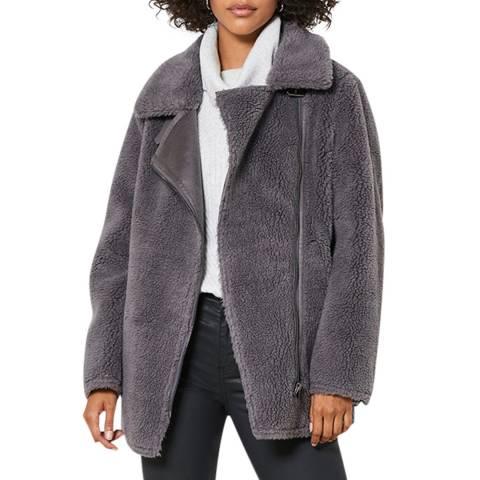 Mint Velvet Grey Wool Blend Teddy Aviator Jacket