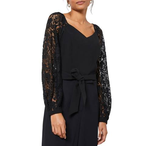 Mint Velvet Black Lace Sleeve Belted Top