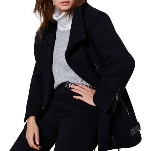 Mint Velvet Black Wool Blend Boucle Biker Coat