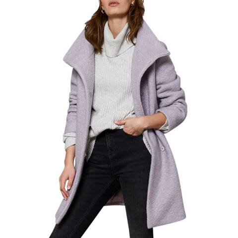 Mint Velvet Lilac Wool Blend Boucle Coat
