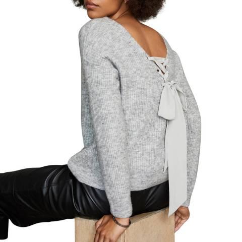 Mint Velvet Grey Boxy Tie Back Wool Blend Jumper