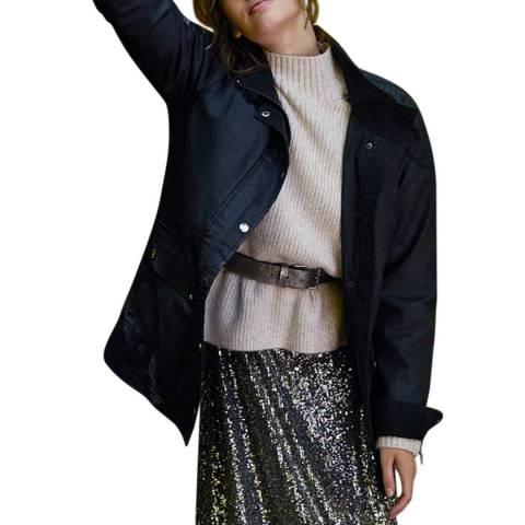 Mint Velvet Black Long Waxed Twill Jacket