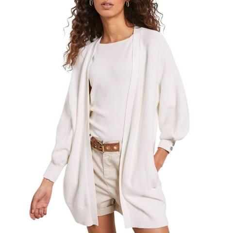 Mint Velvet Ivory Cotton Open Cardigan