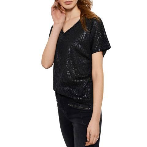 Mint Velvet Black Leopard Linen T-Shirt