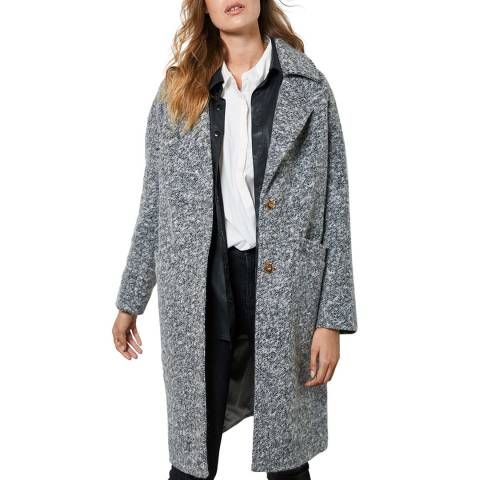 Mint Velvet Grey Textured Wool Blend Boyfriend Coat