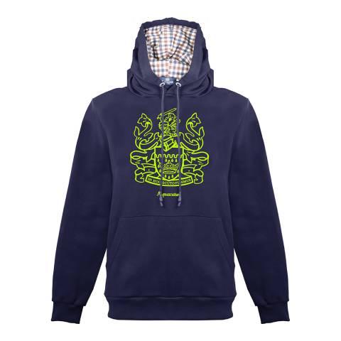 Aquascutum Navy Crest Logo Hoodie