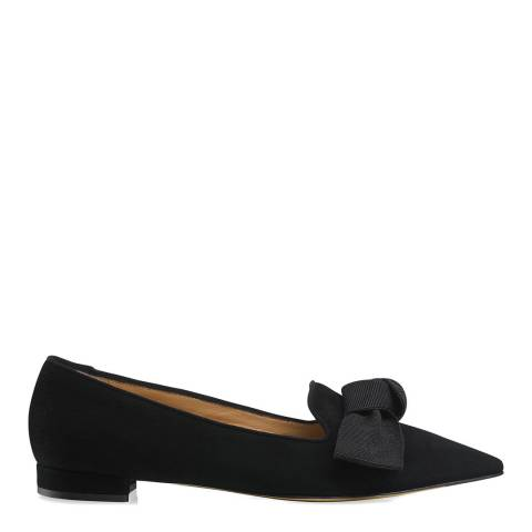 Russell & Bromley Black Suede Paris Pointed Bow Flats