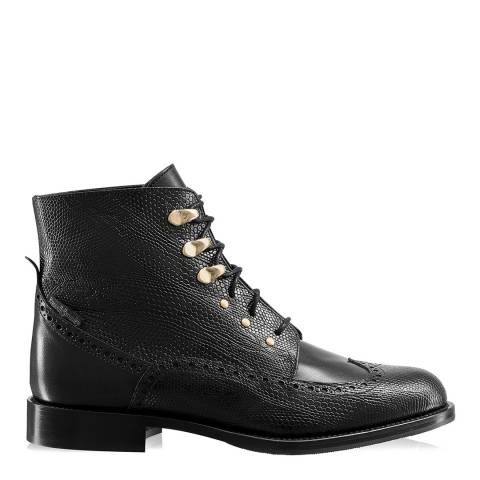 Russell & Bromley Black Leather Bumpkin Luxury Military Boots