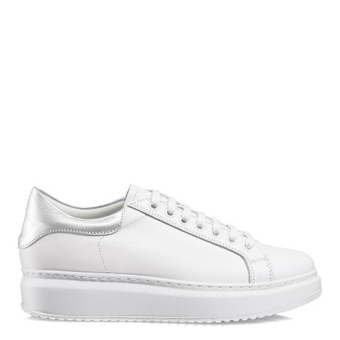 Russell & Bromley White Leather Prize Flatform Sneakers
