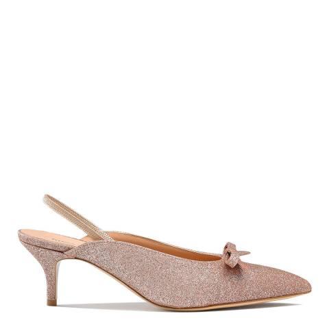 Russell & Bromley Pink Glitter Windsorm Kitten Heel Mules