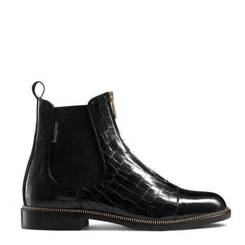 Russell & Bromley Black Croc Print Carnaby Chelsea Boots