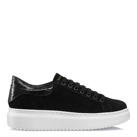 Russell & Bromley Black Suede Prize Flatform Sneakers