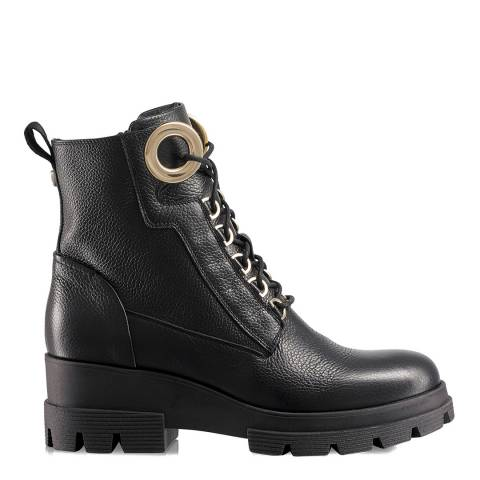 Russell & Bromley Black Leather Crush Hour Combat Boots