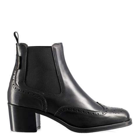 Russell & Bromley Black Leather Cavendish Block Heel Chelsea Boot