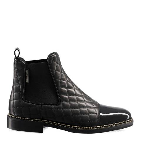 Russell & Bromley Black Patent Kensington Toe Cap Quilted Chelsea Boots