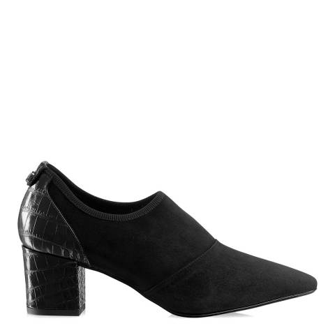 Russell & Bromley Black Suede Flexmid Stretch Court Shoes