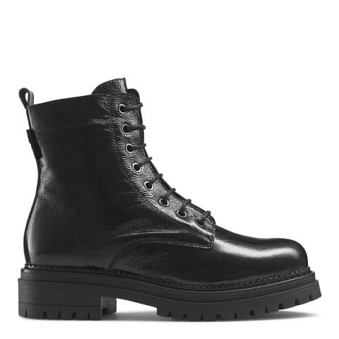 Russell & Bromley Black Patent Combat Boots