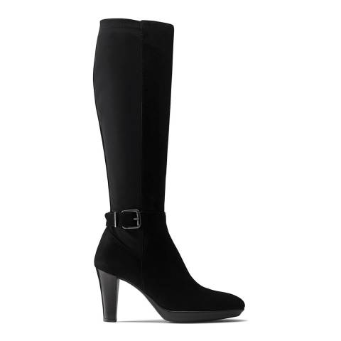 Russell & Bromley Black Suede Rainbow Knee High Boot