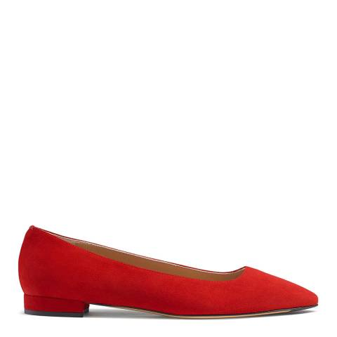 Russell & Bromley Red Suede Impression Flat Pumps