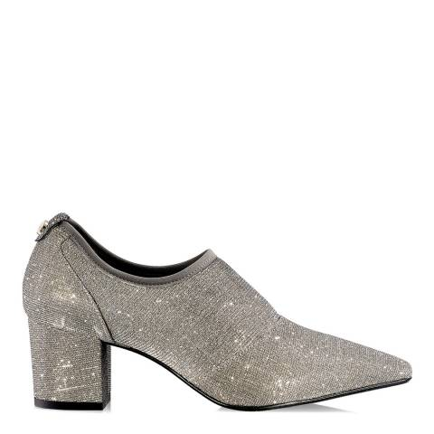 Russell & Bromley Silver Glitter Flexmid Stretch Court Shoes