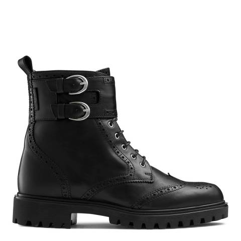 Russell & Bromley Back Leather Cuthbert Double Buckle Stomper Boots