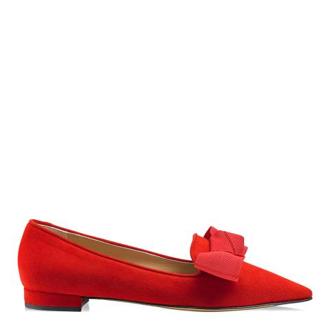 Russell & Bromley Red Suede Paris Pointed Bow Flats