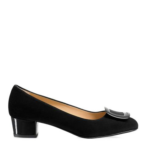 Russell & Bromley Black Suede Frame Work Trim Court Shoes