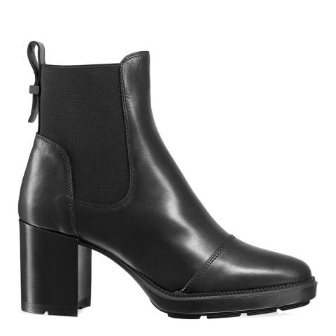 Russell & Bromley Black Leather Ivory Dry Ankle Boot