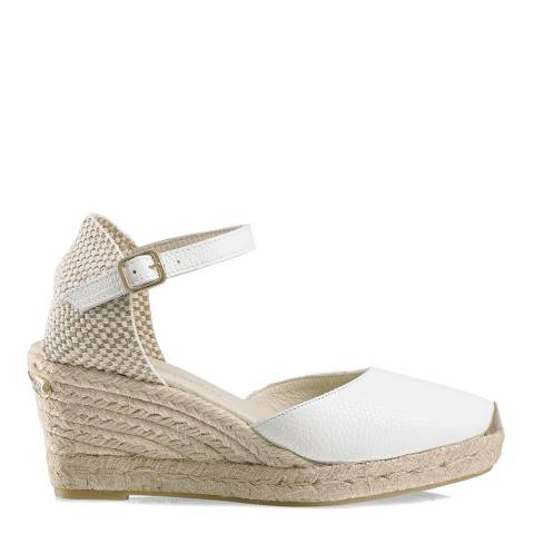 Russell & Bromley White Leather Coco-Nut Ankle Strap Espadrille
