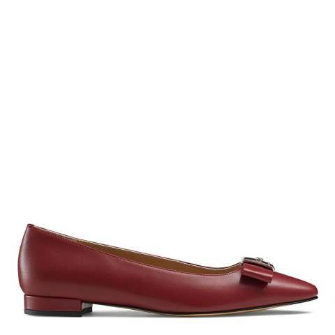 Russell & Bromley Dark Red Leather Impact Bow Trim Flat