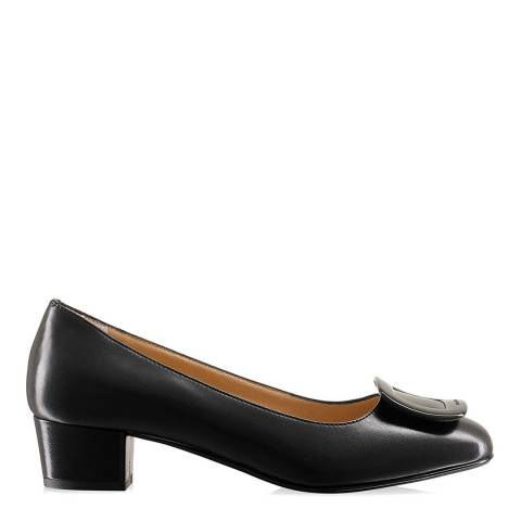 Russell & Bromley Black Leather Frame Work Trim Court Shoes