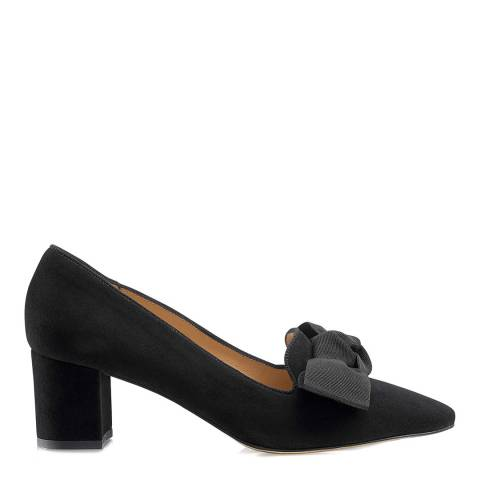 Russell & Bromley Black Suede Paris Bow Trim Court Shoes