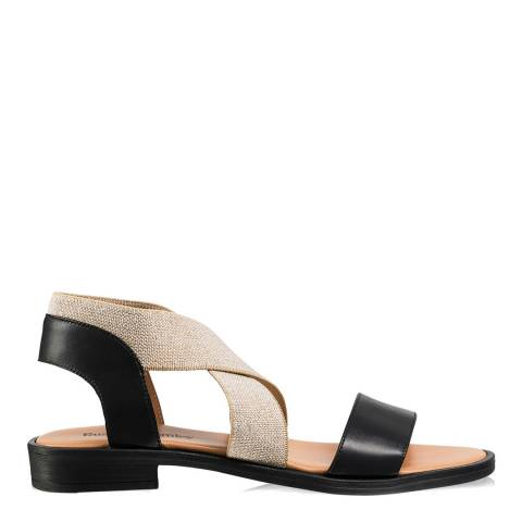Russell & Bromley Black Leather Tribeca Stretch Band Flat Sandals