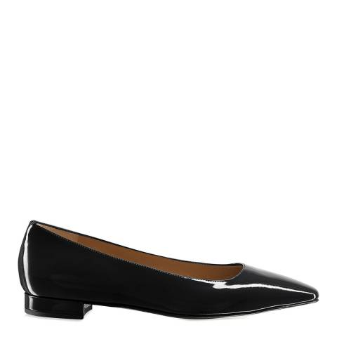 Russell & Bromley Black Patent Impression Flat Pumps