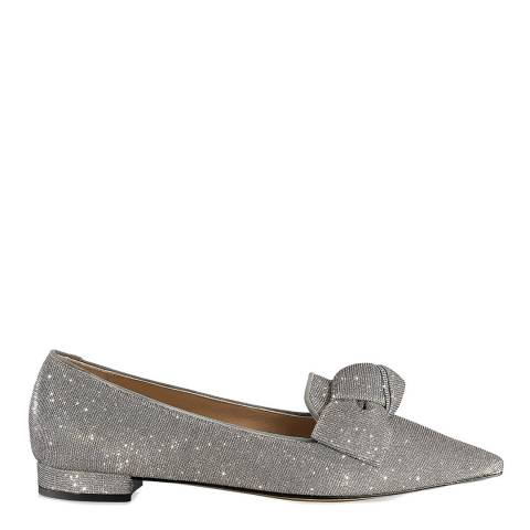 Russell & Bromley Silver Metallic Paris Bow Flats