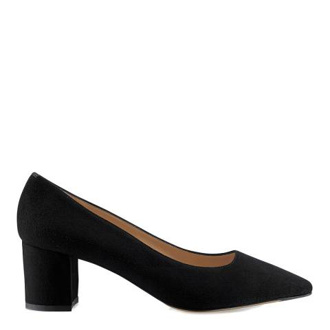 Russell & Bromley Black Suede Impulsive Block Heel Court Shoes