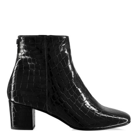 Russell & Bromley Black Croc Patent Trinity Ankle Boot