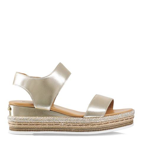 Russell & Bromley Gold Leather De Luxe Flatform Sandal