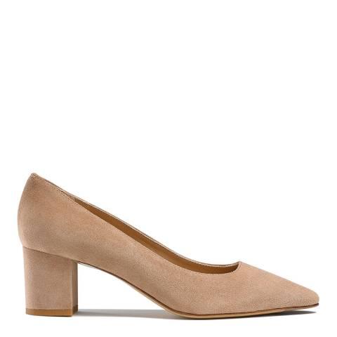 Russell & Bromley Beige Suede Impulsive Block Heel Court Shoes