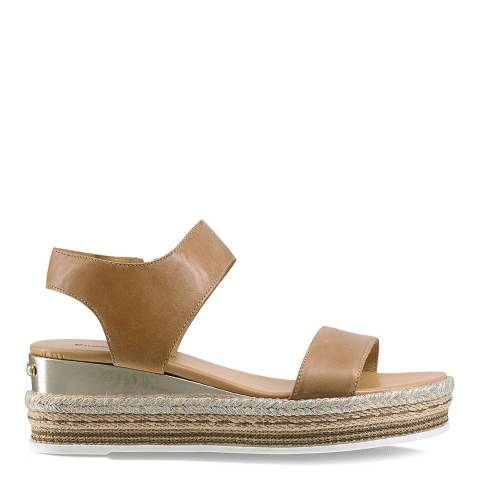 Russell & Bromley Brown Leather De Luxe Flatform Sandal