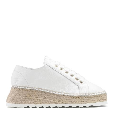 Russell & Bromley White Leather Kick Back Sub Espadrilles