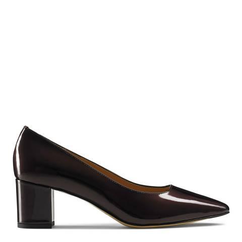 Russell & Bromley Dark Red Patent Impulsive Block Heel Court Shoes