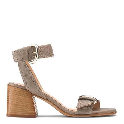 Russell & Bromley Beige Leather Stack Up Block Heel Sandal