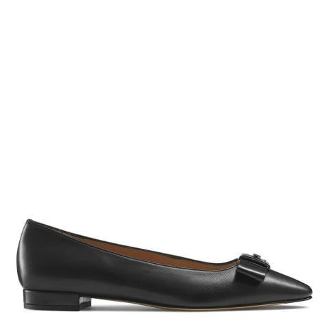 Russell & Bromley Black Leather Impact Bow Trim Flats