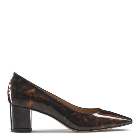 Russell & Bromley Tortoise Patent Impulsive Block Heel Court Shoes