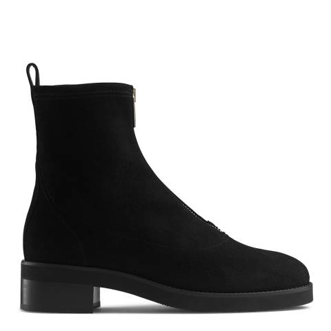 Russell & Bromley Black Suede Attract Front Zip Stomper Boot