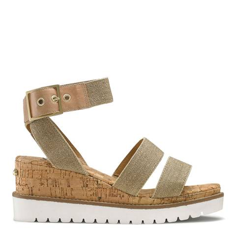 Russell & Bromley Beige Fabric Uptown Flatform Sandal