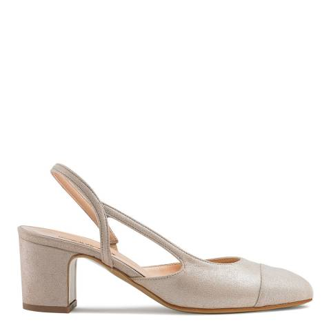 Russell & Bromley Platinum Suede Jeanisling Slingback Shoes