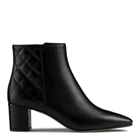 Russell & Bromley Black Leather Imprint Quilted Ankle Boot