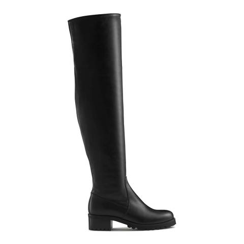 Russell & Bromley Black Calf Leather Altitude Over The Knee Boot